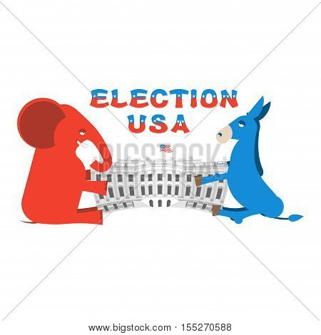 Elephant and Donkey divide White house. Republicans and Democrats share authority.