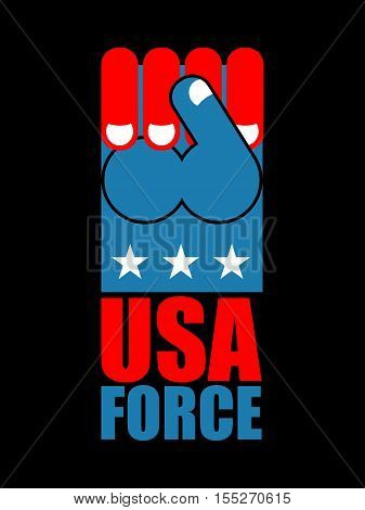 USA force hand. American fist. Symbol of US Patriot.