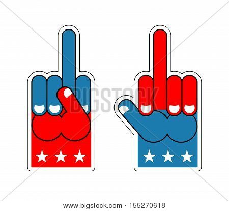 Foam finger fuck. USA Patriotic sign. Symbol of aggression and anger. Hand shows bully character