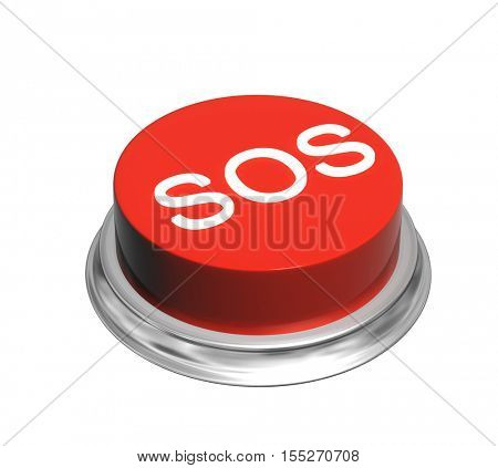 Button of red color with inscripation SOS. Object isolated on white background. 3d render