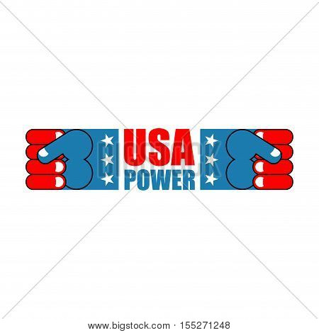 USA patriot fist emblem. Sign of strong America. Logo for armed forces. Illustration for Patriot Day.