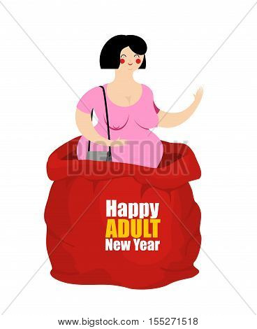 Prostitute in red sack of Santa Claus. Happy Adult New Year. Whore for present.