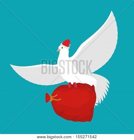 dove Santa Claus carries sack with gifts. Red bag for toys and sweets. White Dove in cap. flying bird. Illustration for New year and Christmas