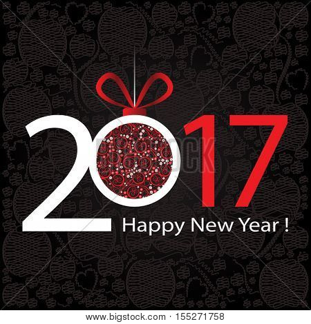 2017 Happy New Year greeting card or background.
