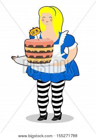 Alice in Wonderland. Cake eat me.  Vector illustration