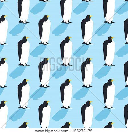 Penguins seamless pattern. Arctic animals texture. Birds Antarctica background. flock of animals at North Pole