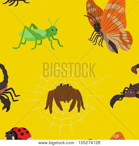 Seamless pattern with cartoon insects. Animal endless yellow background with scorpio butterfly ladybug grasshopper spider. Vector illustration.