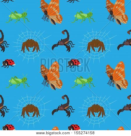 Seamless pattern with cartoon insects. Animal endless blue background with scorpio butterfly ladybug grasshopper spider. Vector illustration.