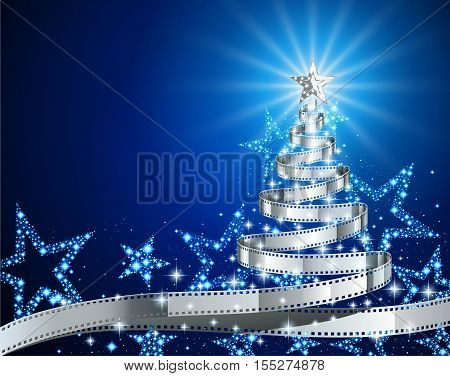 Pine tree made of filmstrip Christmas and New year background illustration for holiday season postcard on the theme of the movie EPS 10 contains transparency.