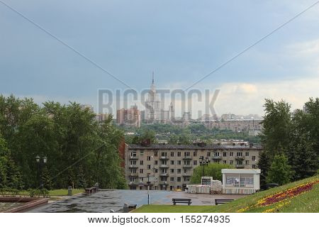 View of the city of Moscow from Poklonnaya Hill. Houses and MSU