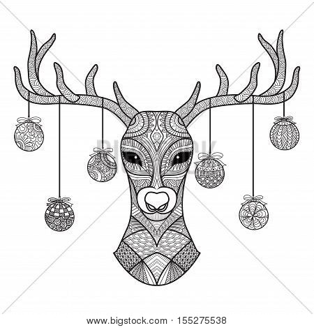 Hand drawn deer head with Christmas balls hanging on its horn, for coloring book,christmas card,decoration