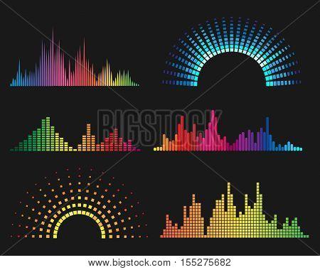 Music digital waveforms. Equalizer sound waves vector illustration
