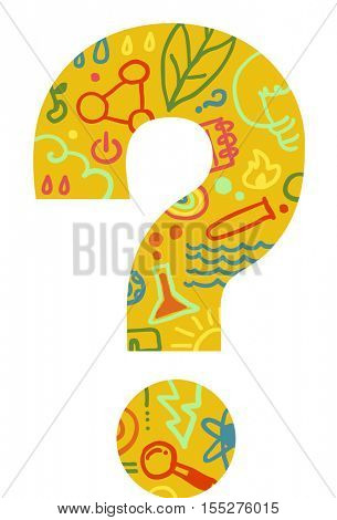 Conceptual Illustration of a Large Question Mark Decorated with Laboratory Tools