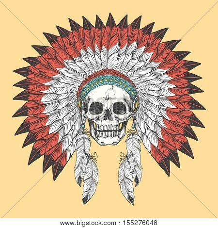 Colorful Native american indian skull in feather headdress vector illustration