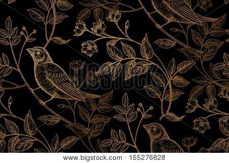 Vintage flowers branches leaves birds. Print gold foil on a black background. Vector seamless pattern. Illustration for fabrics phone case paper gift packaging textiles interior design cover.