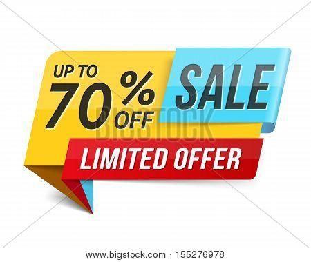 Sale banner, limited offer, 70% off, advertisement, promotion design, vector eps10 illustration