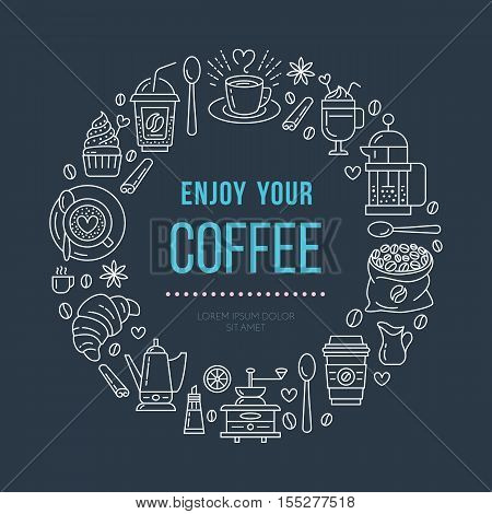 Coffee shop poster template. Vector line illustration of coffeemaking equipment. Elements - espresso cup, french press, croissant, hot drinks, cupcake, coffee grinder. Cafe, bar banner design