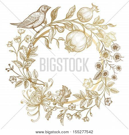 Luxury card for invitations greetings. Hand drawing chrysanthemum branches leaves flowers birds pomegranate fruits on white background. Embroidery golden threads. Vintage vector illustration.