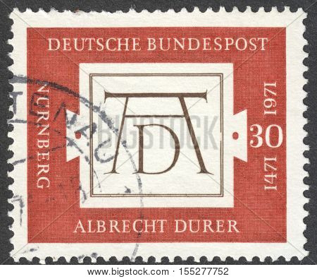 MOSCOW RUSSIA - CIRCA OCTOBER 2016: a post stamp printed in GERMANY dedicated to the 500th Anniversary of the Birth of Albrecth Durer circa 1971
