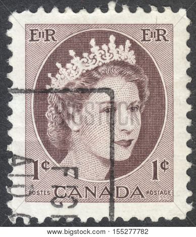 MOSCOW RUSSIA - CIRCA OCTOBER 2016: a post stamp printed in CANADA shows a portrait of Queen Elizabeth II the series