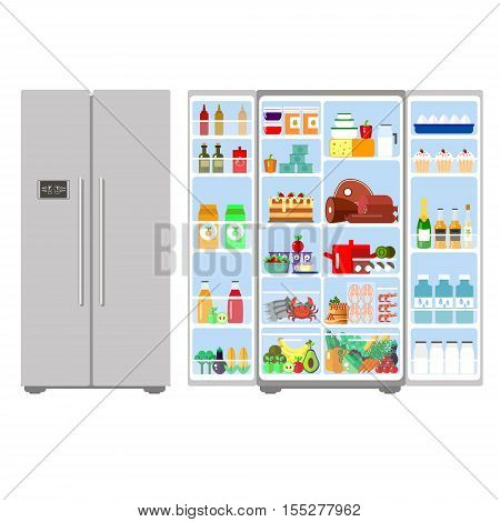 Illustration of grey closed and opened refrigerator full of food - vector stock. Fruit, vegetables, meat, cheese, milk, eggs in freser. Daily ration