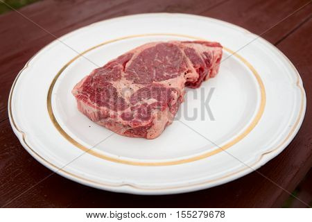 Rib eye steak on a rustic plate, outdoor shot