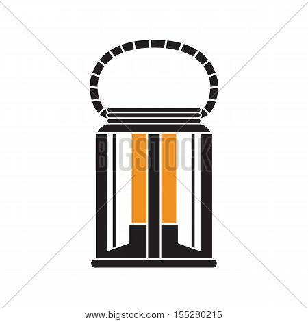 Vintage camping lantern silhouette isolated on white background. Retro gas lamp with glowing light. Garden lantern outline vector illustration. Old lamp for hiking.