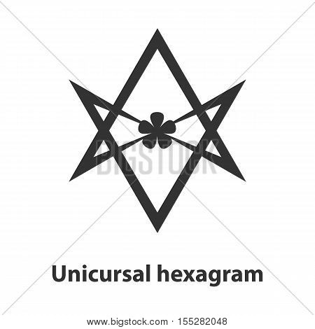 Icon of Unicursal hexagram symbol. Thelema religion sign