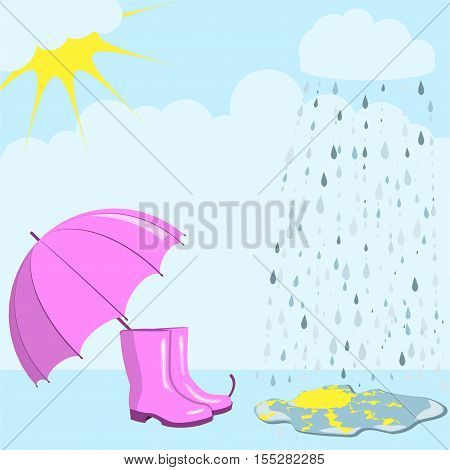 Pink umbrella and gumboots against the background of a rain and the cloudy sky, the sun is reflected in a puddle, autumn mood, vector illustration