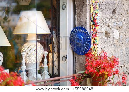 Positano, Italy - May 28, 2015: Typical Ceramics Sold In Beautiful Town Of Positano