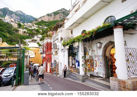 Positano, Italy - May 28, 2015: Typical Medieval Narrow Street In Beautiful Town Of Positano