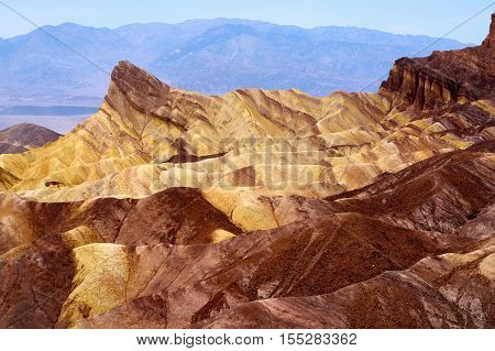 Stunning View Of Famous Zabriskie Point In Death Valley National Park