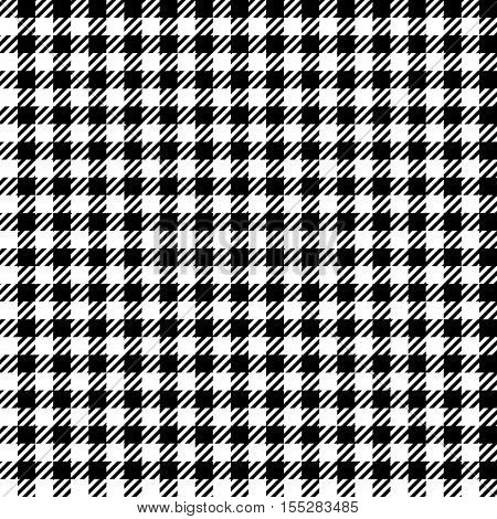 Black white check plaid seamless fabric texture. Vector illustration.
