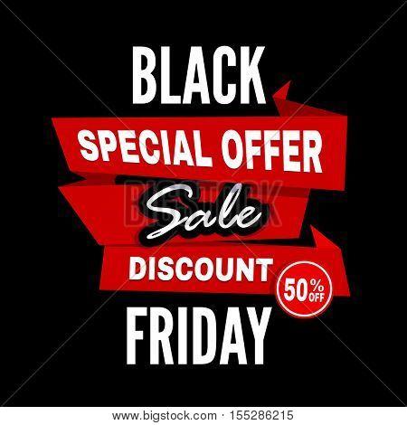 Black Friday sale inscription design template. Black Friday banner, poster, badge or sticker, web advertising vector illustration.