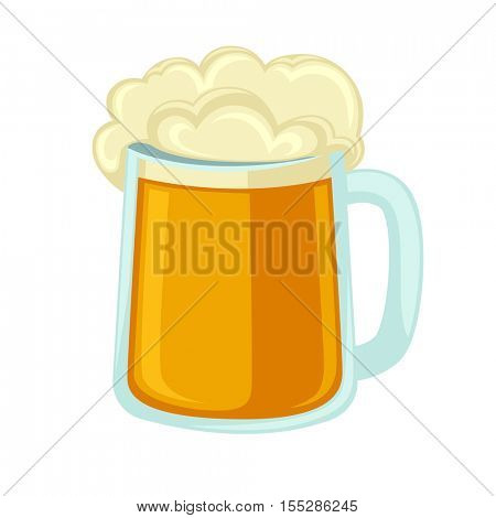 Lager beer glass with foam. Icon mug with cold alcohol isolated on background. Vector illustration of full pint of golden ale. Flat design style for bar, pub or party.