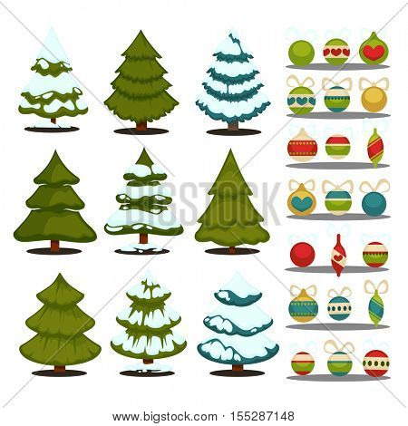 Christmas tree Set of christmas green trees and decoration ball. Winter christmas tree holiday design elements xmas fir with snow and decoration. Christmas tree Cartoon style. Isolated vector.