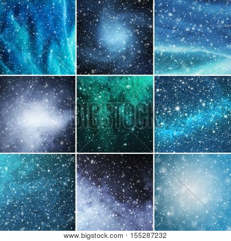 Blizzard, snowflakes and stars. Winter backgrounds collection in a Christmas style.