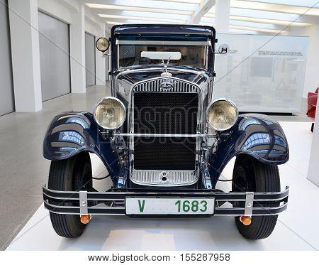 Blue Vintage Car Skoda
