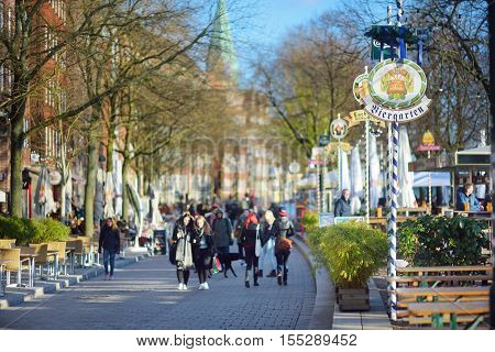 Bremen, Germany - March 23, 2016: Embarktment Of Weser River In Bremen Is Very Popular Among Tourist