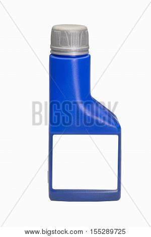 Blue plastic bottle with blank label isolated on a white background