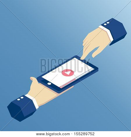 Isometric hands holding mobile phone on which the video will play app for online video playback on the smartphone isometric illustration