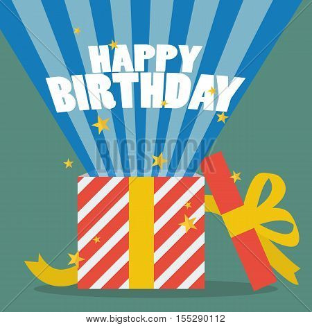 Happy birthday with a gift box. vector illustration