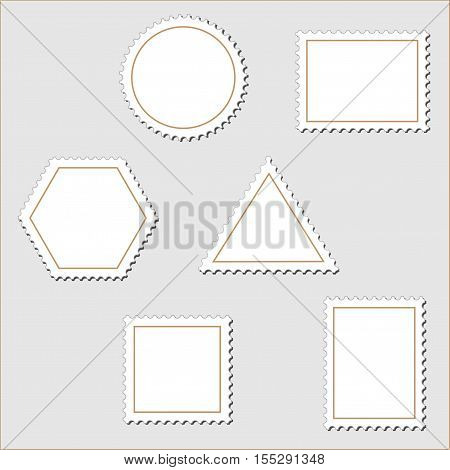 Vector stamps on grey background - illustration