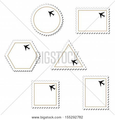 Vector stamps with airplane on white background - illustration