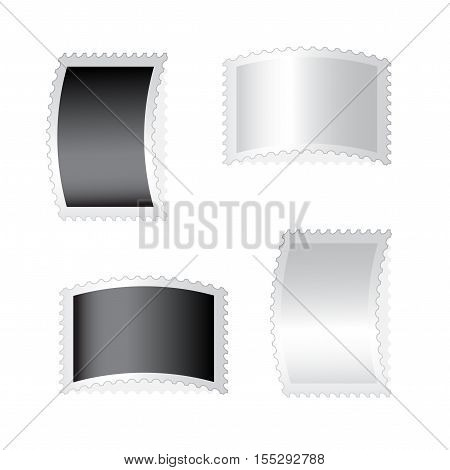 Vector black and silver deflected stamps on white background - illustration