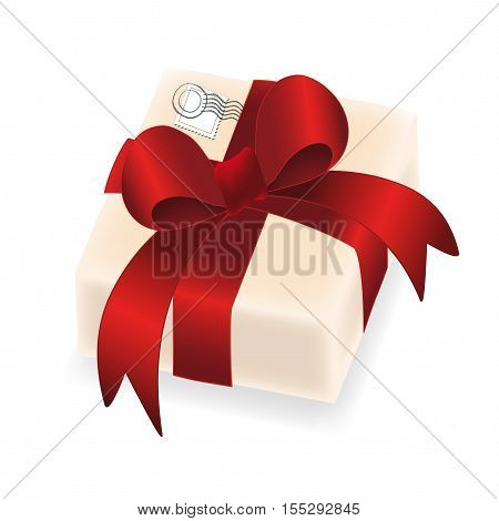 Vector christmas gift with red ribbon on white background - illustration