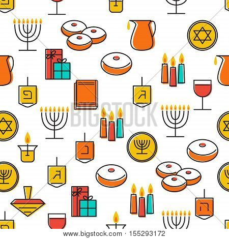 Hanukkah seamless pattern. Jewish Holiday Hanukkah symbol. Menorah (candlestick) candles donuts (sufganiyan) gifts dreidel coins oil. Happy Hannukah in Hebrew. Vector illustration