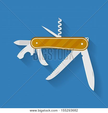 Icon of knife. Multi functional camping and hiking tool. Pocket equipment. Vector illustration
