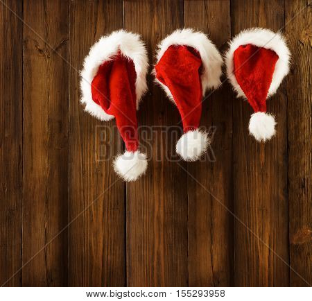 Christmas Santa Claus Hats Hanging Xmas Family Clothing Wood Wall