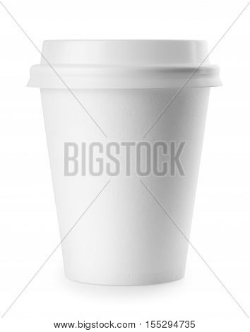 White disposable cup isolated on white background. White paper cup. To go coffee cup with lid over white. Blank takeaway cup isolated on white background with clipping path